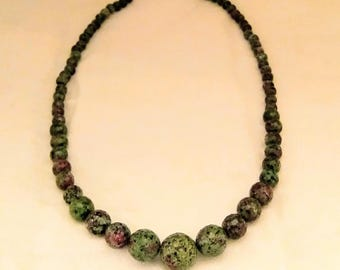 Ruby in Fuschite Round Beads Necklace