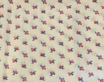Vintage Rosebud Fabric Lightweight Cotton Pink Blue White