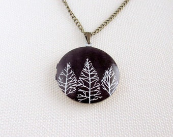 Forest Locket, Black and White Trees, Geometric Monochrome Brass Altered Art Necklace
