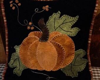 """Pattern: Wool Applique """"Little Pumpkin Pillow"""" Pattern by Cricket Street Wool"""