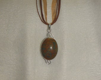 PAY IT FORWARD - Bamboo jasper pendant necklace set in .925 sterling silver (P063)