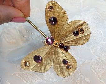 gold butterfly hair pin, butterfly hair accessories, gold and purple wedding, bridal hair clip, Swarovski crystals, amethyst gold hair pins