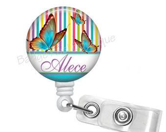 Personalized Badge Reel with Butterflies, Retractable Badge Holder, RN Badge, Butterfly Name Badge, Nurse Steth Tag, Gifts Under 10, 527C