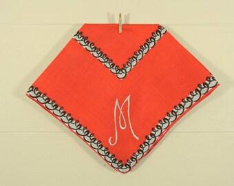 Vintage M Monogrammed Ladies Hankie / Monogrammed Hankerchief / Red M Hankie