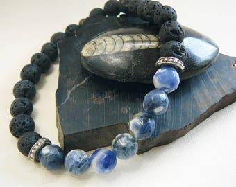 Men's Bracelet, Surfer Bracelet, Mens Beaded Bracelet, Beach Bracelet For Men, Blue Gemstone Bracelet, Surfing, Faceted Sodalite, Black Lava