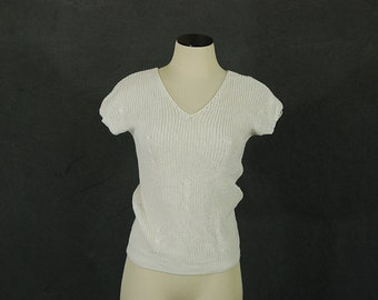 vintage 80s Summer Sweater - 1980s Boho Open Knit Shirt - Open Weave Blouse Sz XS S