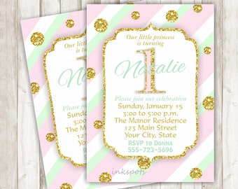 Pink and Gold First Birthday Invitation Mint and Gold 1st Birthday Invitation Girl 1st Birthday Invite Gold Glitter Printable Invite BRPG03