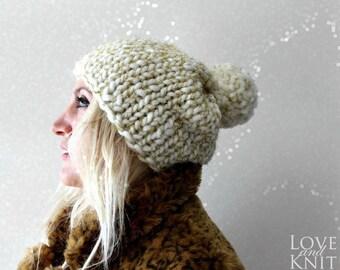 Chunky Pom Pom Beanie- Chunky Knit Beanie- Pom Pom Hat- Gold Glitter Hat- Ivory Gold Hat- Sparkled Beanie- Snow Hat- Gift for Women- Luxury