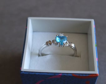 Blue Topaz Claddagh Ring//November//Birthstone//promise//wedding ring//engagement//gifts for her//vacation jewelry//Irishr ring//