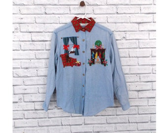 SALE 40% off | Ugly Christmas Sweater | Chambray Holiday Shirt | Vintage Ugly Sweater