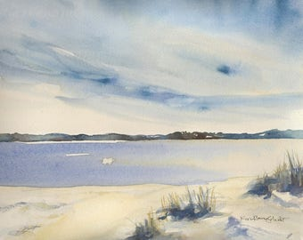 Coastal Watercolor Painting, Beach sand and sea, original watercolor,  11 x 14 with mat, beach house art