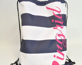 Personalized Draw String Back Pack - Nautical - Personalized Kids Draw String Bag