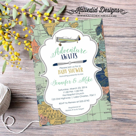 travel baby shower invitation | vintage airplane baby shower | Travel theme | airplane birthday invitation | world map | 12124 Katiedid Card