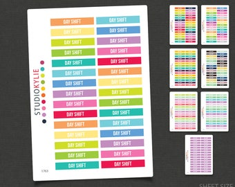 Day Shift Planner Stickers - Repositionable Matte Vinyl