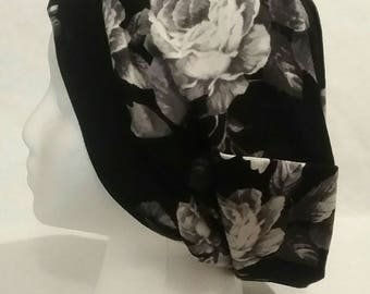 Black and White Floral Slouchy Beanie Hat