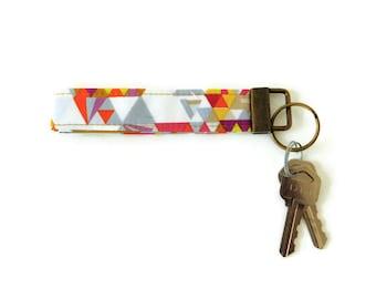 Pink multicolor key fob, geometric key wristlet,  cute gift keychain,