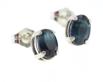 Sapphire Earrings, Sterling Silver Blue Sapphire Earrings, September Birthstone