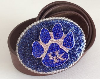 Kentucky Wildcats Crystal Football Team Bling Belt Buckle