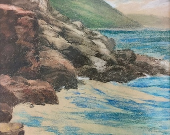 Walter Atkinson Seascape Painting Mixed Media Framed Glass Vintage Signed 03464