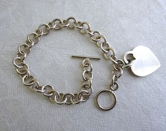 Sterling Silver Chain and Heart Charm Bracelet, Engravable, Cable Chain, Toggle Clasp