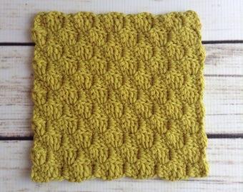 Olive Green Washcloth, Cotton Washcloth, Knit Washcloth, Knit Wash Rag, 100% Cotton, Bathroom, Kitchen, Dishcloth