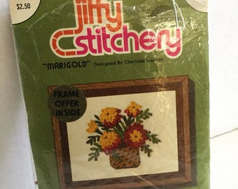 Jiffy Stitchery by Sunset Designs crewel embroider kit - Marigolds