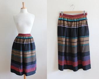 Vintage Chaus Multicolor Brown & Black Stripe Rayon Midi Skirt