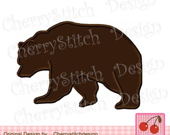 Bear silhouette Animal embroidery applique design AN0039 - approximate 4x4 5x5 6x6 inch