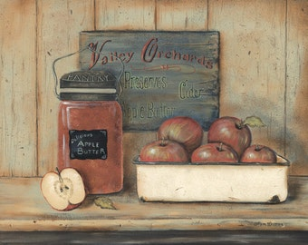Kitchen Wall Decor,Primitive Kitchen Wall Decor,Country Kitchen Wall Decor,Apple Butter Wood Sign, 12x16,Pam Britton