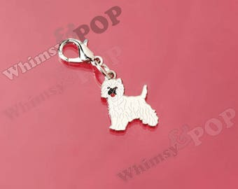 1 - Small Cairn Terrier Dog Enamel Charm, Cairn Terrier Dog Charm, Pet Charm, 15mm x 17mm (2-1B)