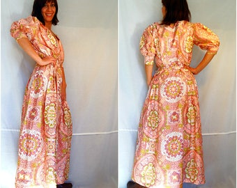Maxi gown floral boho maxi gown party pink silk bohemian maxi dress vintage 70s size Medium