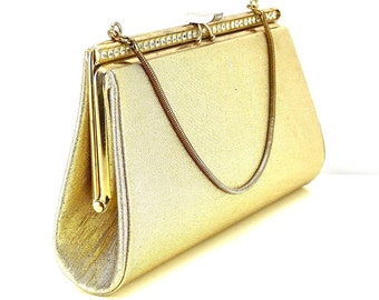 Vintage gold lame clutch