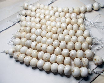 Rustic Bone Beads -  12 Shiny Cream Rondelle Beads - Natural Off White Round Set - 11mm to 13mm -  Smooth Organic Light Neutral Earthy Set