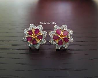 Earrings- Gold plated ruby with zircon earrings