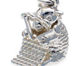 Welded Bliss Sterling 925 Silver Knitting Sheep Clip On Charm WBC1360