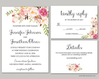 Blush Rose Bouquet Wedding Invitation Set (8379) - Rustic Wedding Invitation - INSTANT DOWNLOAD - Ready to Print - Editable PDF