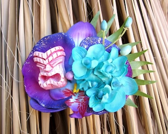 Pink and Purple Tiki Hair Clip, Odd Rodney, Tiki Flower, Orchid Hair Flower, Tropical Wedding, Purple Orchid