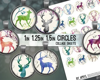 Deer Watercolor Digital Collage Sheets 1 inch 1.25 and 1.5 Circles Printable Download for Pendant Magnet Bottle Cap Necklaces Crafts JPG