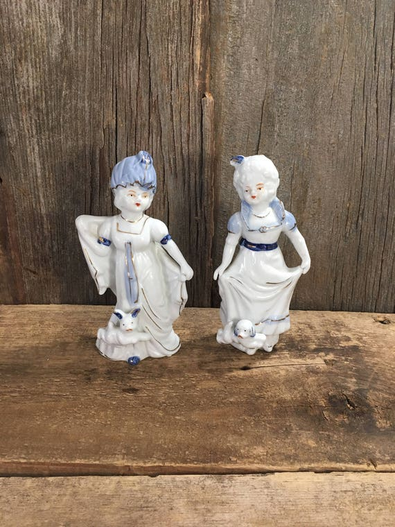 Beautiful glazed porcelain pair of Victorian figurines, vintage  blue and white glazed porcelain, vintage JV import porcelain figurines