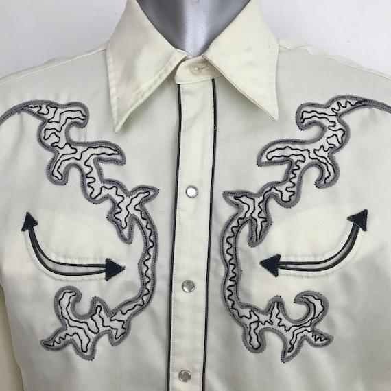 Vintage western shirt, vintage cowboy shirt, embroidered, cream, black, M, rockabilly shirt, rock n roll, USA, damaged