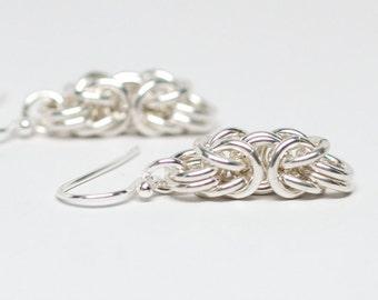 Byzantine Earrings. Sterling silver chainmaille earrings.