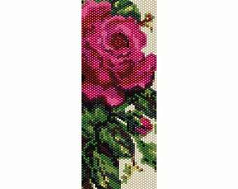 Victorian Rose Peyote Bead Pattern, Bracelet Cuff, Bookmark, Seed Beading Pattern Miyuki Delica Size 11 Beads - PDF Instant Download