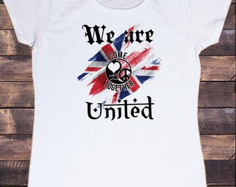 Women White T-shirt We Are United- Come together Love & Peace One Love Print TS839