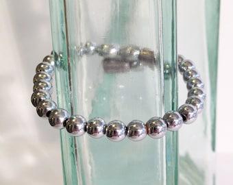 Magnetic hematite bracelet - bright silver 6mm beads - custom sized