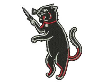 "4"" Iron On Black Stray Cat Patch - Switchblade dagger knife  Spooky Retro Punk Rockabilly Roller Derby Rocker Anarchy Devil Monster"