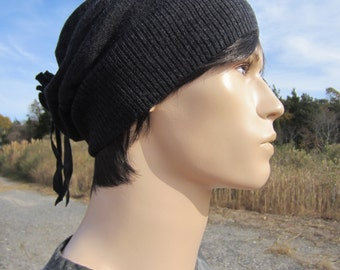 Mens Merino Wool Slouchy Beanie Hat Charcoal Gray A947