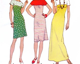 Simplicity 7017 Vintage 70s Sewing Pattern for Misses' Pullover Dress in Three Lengths - Uncut - Size 14