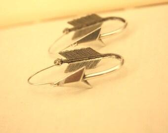 Silver Arrow Hoops Earrings