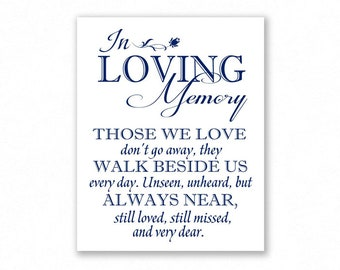 Navy Blue Printable In Loving Memory Sign, Wedding Sign, Memory Table, In Honor, Remembrance, #MM12N
