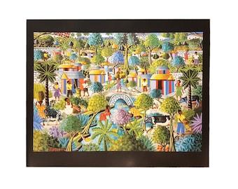 "Village by R. Mervilus 16X20 Black Art Print print alone or framed 1"" black frame Haitian Art"